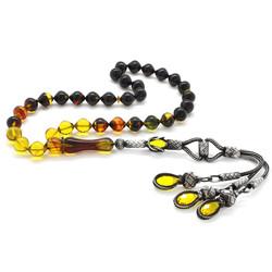 1000K Silver Tassel Tassel Istanbul Cut Filtered Bala-Black Fire Amber Rosary - Thumbnail