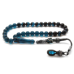 1000-carat silver ball with tassels and tassel, carved from filtered turquoise-black amber, Fire amber rosary - Thumbnail