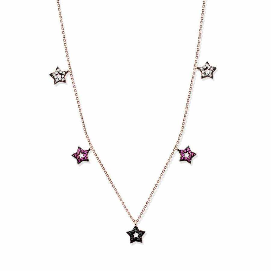925 Sterling Silver Five Star Necklace
