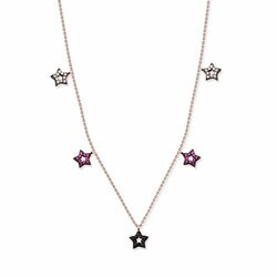 925 Sterling Silver Five Star Necklace - Thumbnail