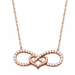 925 sterling silver white zircon stone endless heart pendant - Thumbnail