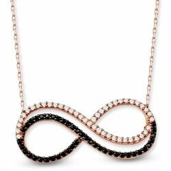 Double Infinity 925 Sterling Silver Necklace (Model 1)