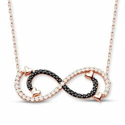 Double Infinity 925 Sterling Silver Necklace - Thumbnail