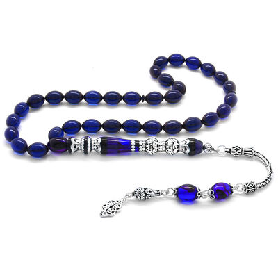 925 Sterling Silver with Tassel Silver Double Polished Nakkash Filter with Decoration Blue-Black Pressed Amber Rosary