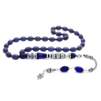 925 sterling silver with tassels of silver with three polished nakkash, decorated with dark blue corrugated amber rosary