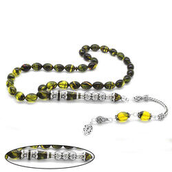 925 sterling silver with tassels Silver filter with three polished nakkashi Yellow-black fire-amber rosary