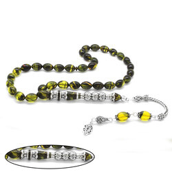 925 sterling silver with tassels Silver filter with three polished nakkashi Yellow-black fire-amber rosary - Thumbnail