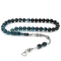 925 sterling silver with tassels, globe with filter, turquoise-black fire-amber rosary - Thumbnail