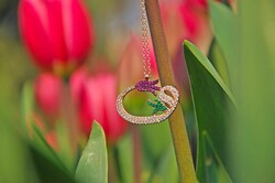 925 Sterling Silver Colored Zircon Stone Tulip Vav Necklace - Thumbnail