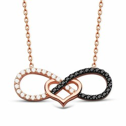 925 sterling silver black and white zirconia heart shaped necklace - Thumbnail