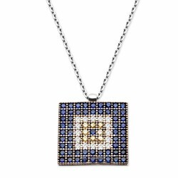 Square Pattern 925 Sterling Silver Necklace - Thumbnail