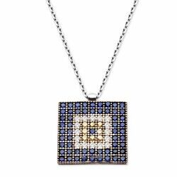Square Pattern 925 Sterling Silver Necklace