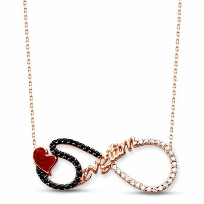925 sterling silver zircon stone lettering necklace for valentine's day