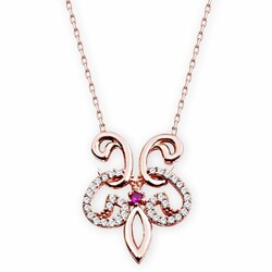 Vav Model 925 Sterling Silver Necklace with Cubic Zirconia - Thumbnail
