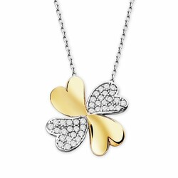 925 sterling silver clover necklace with cubic zirconia - Thumbnail