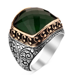 Anı Yüzük - 925 Ayar Gümüş Zirkon Yeşil Taşlı İşlemeli Erkek Yüzük
