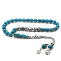 925 sterling silver armored sphere with tassels name written in turquoise natural stone tasbih - Thumbnail