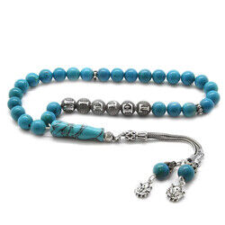 925 sterling silver armored sphere with tassels name written in turquoise natural stone tasbih
