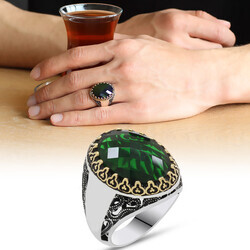 925 sterling silver mens ring with green zircon stone (name can be written on the sides) - Thumbnail