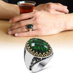 925 sterling silver mens ring with green zircon stone (name can be written on the sides)