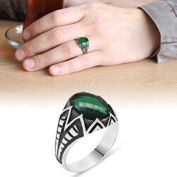 925 Sterling Silver Mens Ring with Green Zirconia Stone - Thumbnail