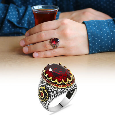 925 Sterling Silver Mens Ring with Red Zircon Faceted Stone
