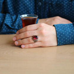 925 Sterling Silver Mens Ring with Red Zircon Faceted Stone - Thumbnail