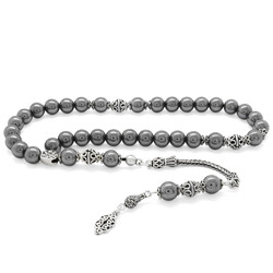 925 Sterling Silver Tasbih With Natural Stone Tassel For Collection - Thumbnail