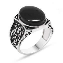 925 Sterling Silver Authentic Patterned Onyx Stone Ring - Thumbnail