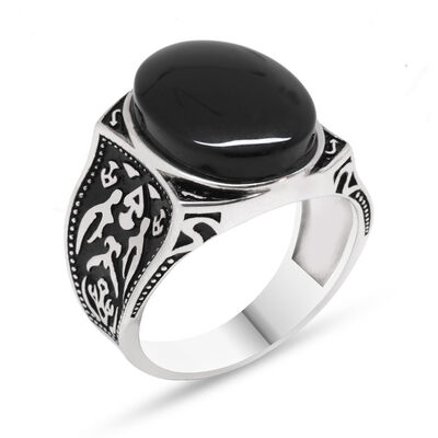 925 Sterling Silver Authentic Patterned Onyx Stone Ring
