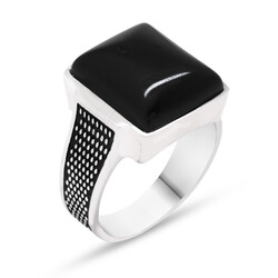 925 Sterling Silver Straw Patterned Onyx Stone Ring - Thumbnail