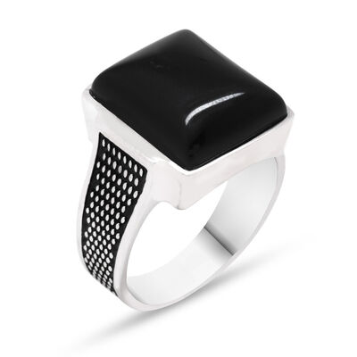 925 Sterling Silver Straw Patterned Onyx Stone Ring