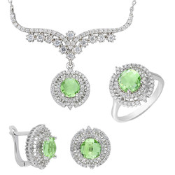 Tesbihane - Light Green Zircon 925 Sterling Silver 3 pcs Accessory Set