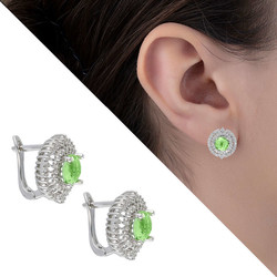 Tesbihane - Light Green Zircon 925 Sterling Silver Women's Earring