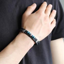 Tesbihane - Wooden Bead 3 Line Black Steel Leather Men's Bracelet