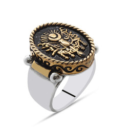Tesbihane - Moon Star Embossed 925 Sterling Silver Men's Ring