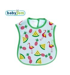 BabyJem - Baby Bib for Cleanliness - Green Flamingo Bird Shape