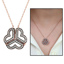 925 sterling silver double necklace with white zircon - Thumbnail