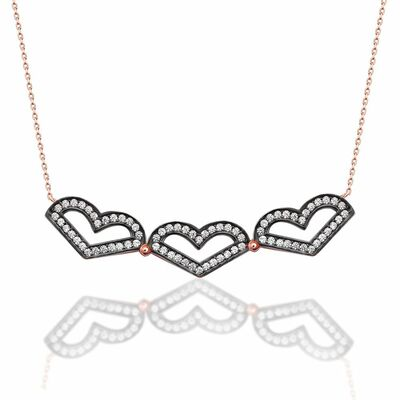 925 sterling silver double necklace with white zircon