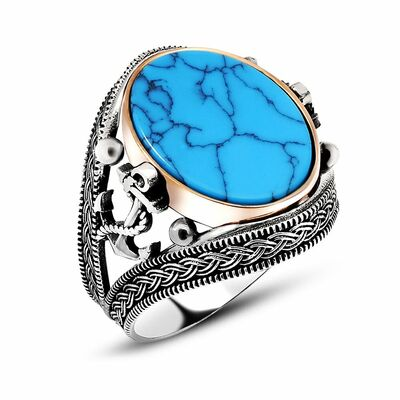 Men's 925 Sterling Silver Engraved Turquoise Turquoise Anchor Ring