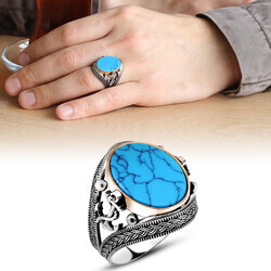 Men's 925 Sterling Silver Engraved Turquoise Turquoise Anchor Ring - Thumbnail