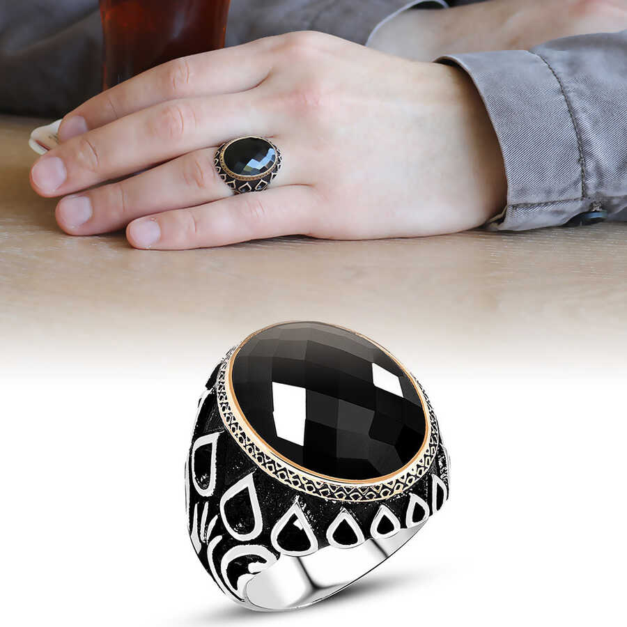 Men's 925 Sterling Silver Embroidered Black Onyx Drop Pattern Ring