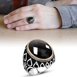 Men's 925 Sterling Silver Embroidered Black Onyx Drop Pattern Ring - Thumbnail