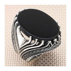 Anı Yüzük - Düğüm Model Sade Siyah Oniks Taşlı Gümüş Erkek Yüzük