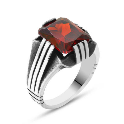 Elegant Mens 925 Sterling Silver Ring With Red Zirconia Stone