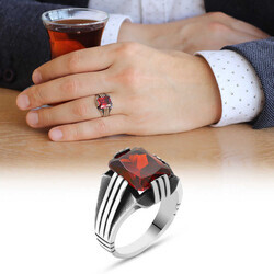 Elegant Mens 925 Sterling Silver Ring With Red Zirconia Stone - Thumbnail