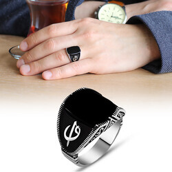 925 Sterling Silver Mens Ring with Black Onyx Written by Elif Vav - Thumbnail