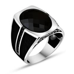 Anı Yüzük - Fasetli Siyah Zirkon Taş 925 Ayar Gümüş Erkek Yüzük