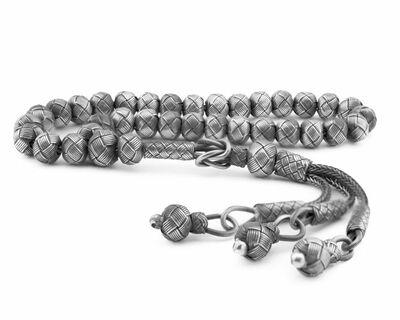 Handmade on wrist with ball cutout, color, silver 1000, Kazaz Tasbih