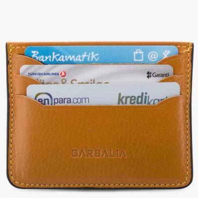 Anı Yüzük Name Written Cardholder Wallet Black Detailed Mustard Color